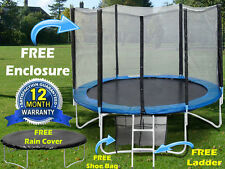 8ft 10 12 & 14ft Trampoline With Free Safety Net Enclosure,Ladder & Rain Cover