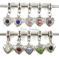 European Birthstone Charms Dangle Slider Bead Charm for European Charm Bracelet