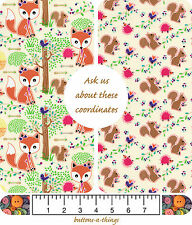 FOX IN THE WOODS Squirrels Cotton Fabric Nursery Collection  U Choose