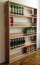SOLID OAK SPICE RACK 5 SHELVES KITCHEN WORKTOP WALL MOUNTED WOODEN JAR STORAGE