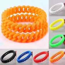 Personalize Silicone Rubber Spring Stretch Sport Chain Bracelet Bangle Wristband