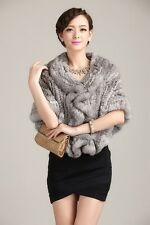 100% Real Genuine Knitted Rabbit Fur Cape Stole Poncho Shawl Coat Wedding Deluxe