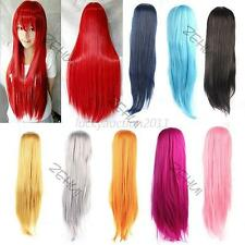 """80cm 32"""" Heat Resistant Bangs Classic Long Straight Party Cosplay Anime Full Wig"""