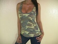 SEXY GREEN OLIVE CAMO CAMOUFLAGE LOOSE LOW CUT CLEAVAGE RACERBACK TANK TOP GN103