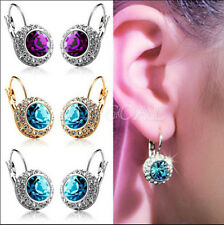 1 Pair Women Fashion Rhinestone Crystal Dangle Earrings Ear Hook Stud Jewellery