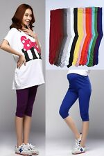 New Womens Ladies Summer Solid Maternity Leggings Cotton Pregnancy Pants