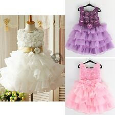 Girl Kid Pageant Wedding 3D Flower Tutu Party Dress Bow Layered Skirt 2-10Y e