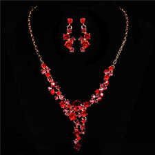 hot nice flower shape crystal inlay necklace earring set chain jewelry for gift