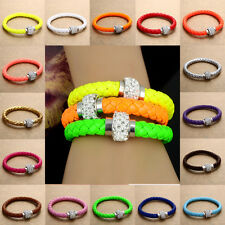NEW Leather Wrap Wristband Cuff Punk Magnetic Crystal Buckle Bracelet Bangle Hot