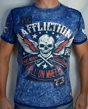 Affliction American Customs - BURNING RUBBER - Men's Biker T-Shirt - NEW - Blue