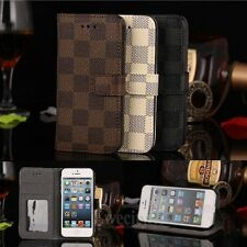 Luxury Deluxe Grid Flip Wallet Leather Stand Case Cover For Apple iPhone 5 5S SE