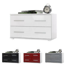 Bedside Table Cabinet Chest of Drawers Kioto White - High Gloss & Natural Tones