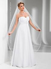 "New 1T White / Ivory Wedding Prom Bridal Chapel Veil With Comb 68""- Satin Edge"