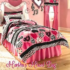 HEARTS Teen Girls PiNK Black Zebra Stripe Animal Print Comforter Set+ Bed Sheets