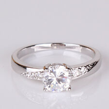 Engagement 18k white gold filled GOOD-LOOKING white sapphire ring Sz5-Sz9