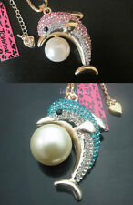 Betsey Johnson Shining crystal Dolphin Pearl Pendant Sweater Chain Necklace#588