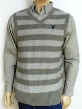 American Eagle Outfitters AEO Mens Gray Stripe Wool Blend Sweater Vest New NWT