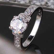 Attractive white sapphire 18k white gold filled engagement ring Sz5-Sz9