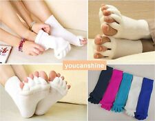 5Color Yoga GYM Massage Open Five Toe Separator Socks Foot Alignment Pain Relief
