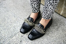 ZARA BLACK LEATHER MOCCASIN SHOES WITH CHAINS ALL SIZES BLOGGERS!