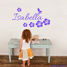PERSONALISE Name & Butterfly,Hibiscus Removable wall sticker for kids / Nursery