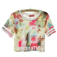 New Arrival Fashion Casual Women Printed Crop T-shirt Ladies Number Sport Tee