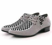 Mens Woven Breathable Low Top Lace Up cuban heel shoes Pointy Toe Dress Formal