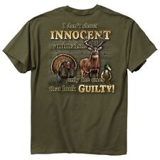 New I DON'T SHOOT INNOCENT ANIMALS T-SHIRT ONLY GUILTY ONES FUNNY HUNTING SHIRT
