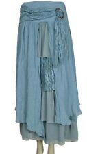 PRETTY ANGEL Aqua Blue Vintage Boho Peasant Gypsy skirt-flowing, layered-ELEGANT