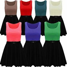 Womens Plus Size Plain Flared 2 In 1 Color Block Sleeveless Belted Skater Dress