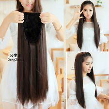 fashion brown half wig women full long straight hair wigs 3/4 wig clips in on