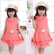 Summer Kids Baby Girls Dress Chiffon Watermelon Red Sleeveless Princess Skirt