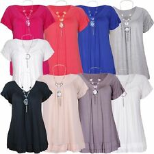 New Ladies Plus Size Beaded Necklace Frill Gypsy T-Shirt Tunic Tops 8-18