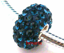 925 Sterling Silver Dark Blue Swarovski Crystal Bead Fit European Charm Bracelet