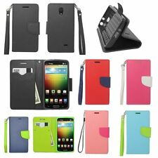 For LG Lucid VS876 Flip Leather Wallet Case with 2 ID/Slots,Strap