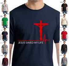 Religious Christian Jesus Christ Saved My Life God Cross New Mens T Shirt S-4XL