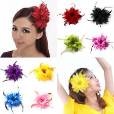 New Womens Belly Tribal Party Wedding Feather Hair Head Flower Pin Brooch Clip