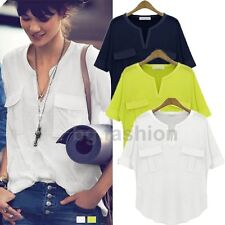 ZANZEA NEW V-Neck Batwing Dolman Short Sleeve Pockets Loose Top Blouse T-Shirt
