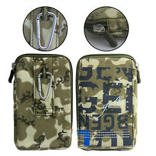 Universal Army Camo Nylon Bag Case Cover for All Mobile Phone Loop Hook Pouch