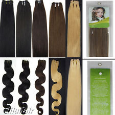 """Women 20"""" Weft Weaving Wavy or Straight Remy Human Hair Extensions 100G 150CM"""