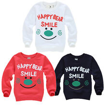 HAPPY FACE Baby Boy Kids Long Sleeve Tops Shirts Sweater Outwear Coat Clothes