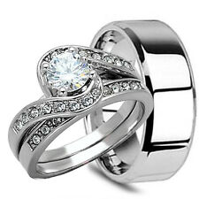 Black TITANIUM Mens Band and 2 pc Womens Engagement Wedding CZ Ring Set His Hers