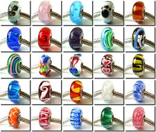 Sterling Silver Core Lampwork Murano 925 Glass European Bead Fit Charm Bracelet
