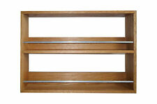 SOLID OAK SPICE RACK 2 SHELVES KITCHEN WORKTOP WALL MOUNTED WOODEN JAR STORAGE