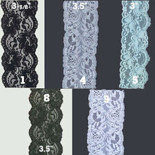 "3""- 4"" inch Stretch Floral Lace Edge Trim 1,5,10 Yards Various Colors"