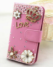 Pink Pearls Diamonds crown PU leather slot wallet flip case skin cover for HTC