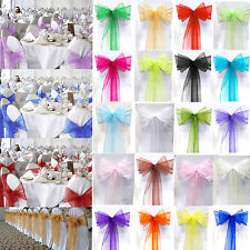 1/10/25/50/100 Organza Chair Cover Bow Sash Wider Sashs Wedding Banquet Decor