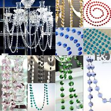 6FT 14mm Crystal Octagon Beads Chain Chandelier Prisms Hanging Wedding Garland
