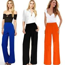 Womens Retro Career Loose High Waist Flare Wide Leg Long Pants Palazzo Trousers
