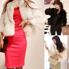 Luxury Women's Faux Fur Warm Plain Short Coat Outwear Jacket Overcoat 2 Colors
